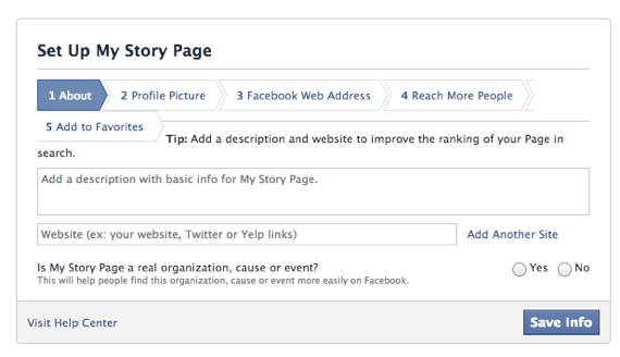 how to add more information on facebook page