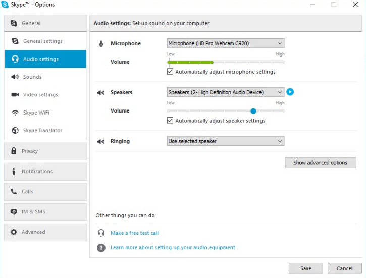 skype windows audio settings