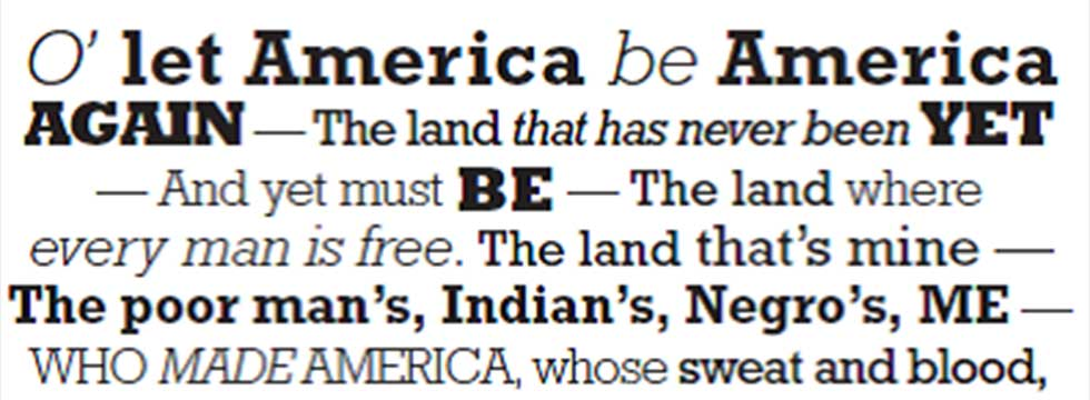 rhyme scheme of let america be america again Let america be america again is a plea for freedom and equality for all  after  this the rhyme scheme gradually loses its regular pattern and.
