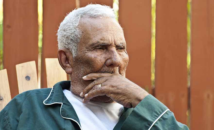 Old Hispanic Man in Pajamas